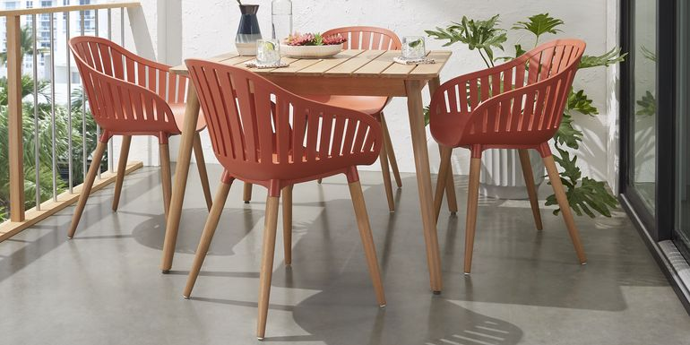 Nassau 5 Pc Square Outdoor Dining Set with Orange Chairs