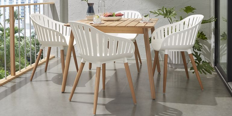 Nassau 5 Pc Square Outdoor Dining Set with White Chairs