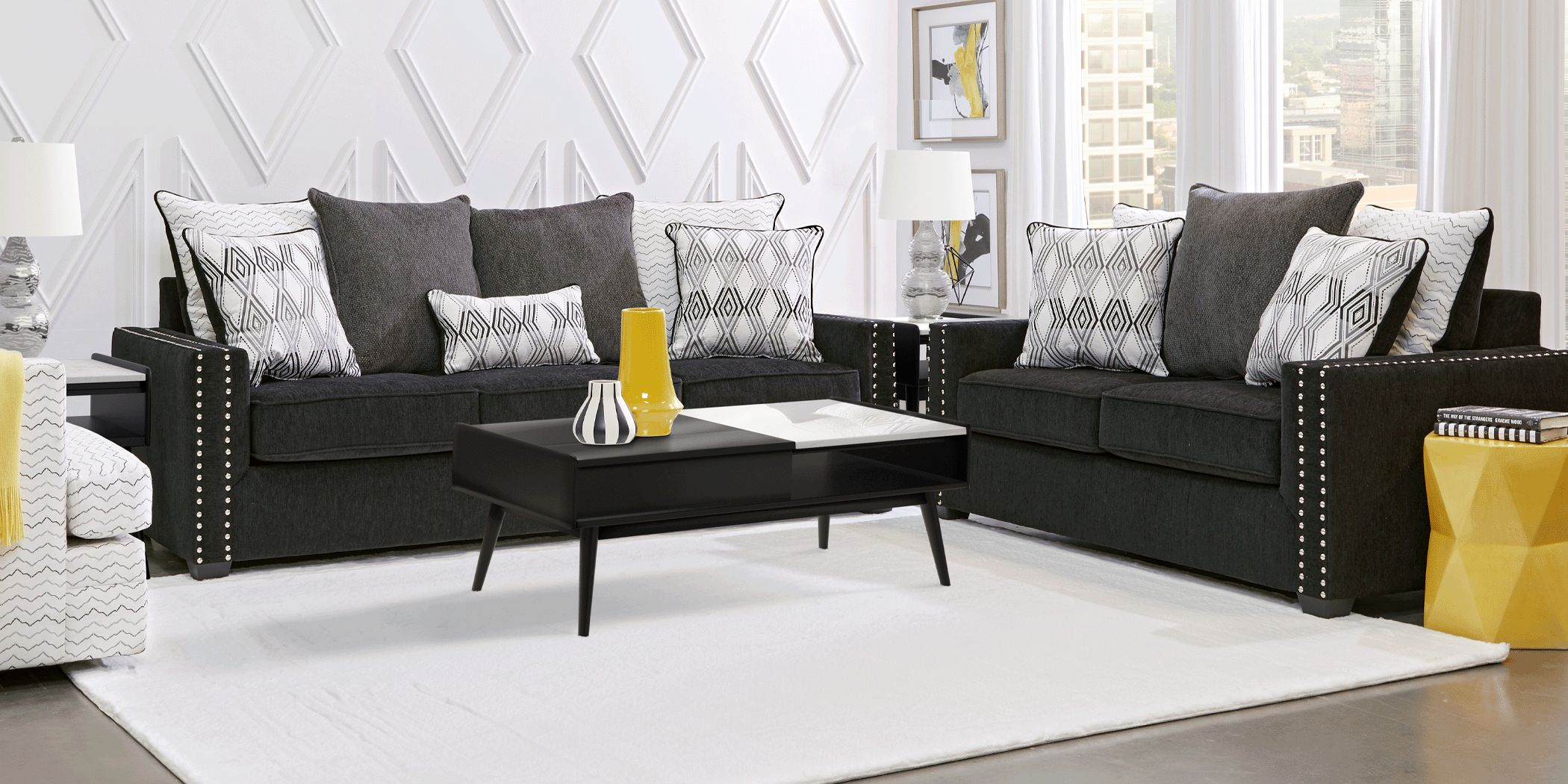 Natalia Black 8 Pc Living Room