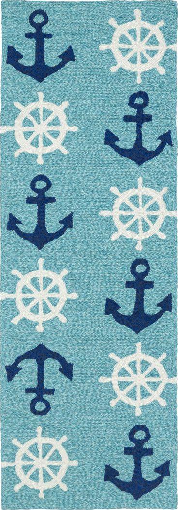Nautical Life Blue 2' x 6' Indoor/Outdoor Rug