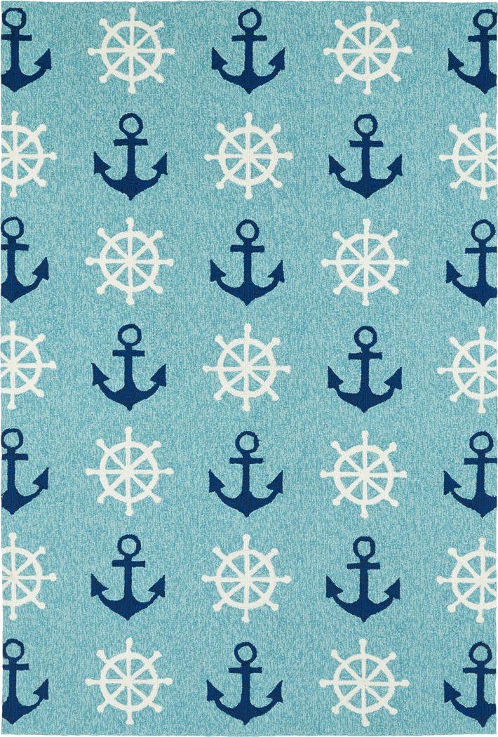 Nautical Life Blue 5' x 7'6 Indoor/Outdoor Rug
