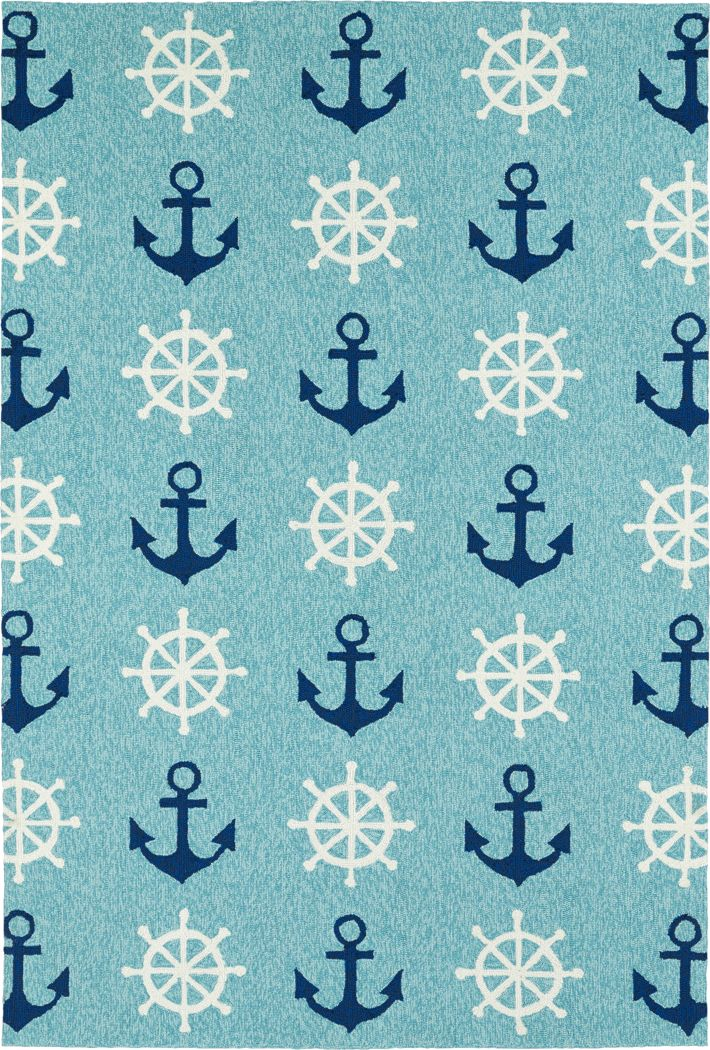 Nautical Life Blue 7'6 x 9' Indoor/Outdoor Rug