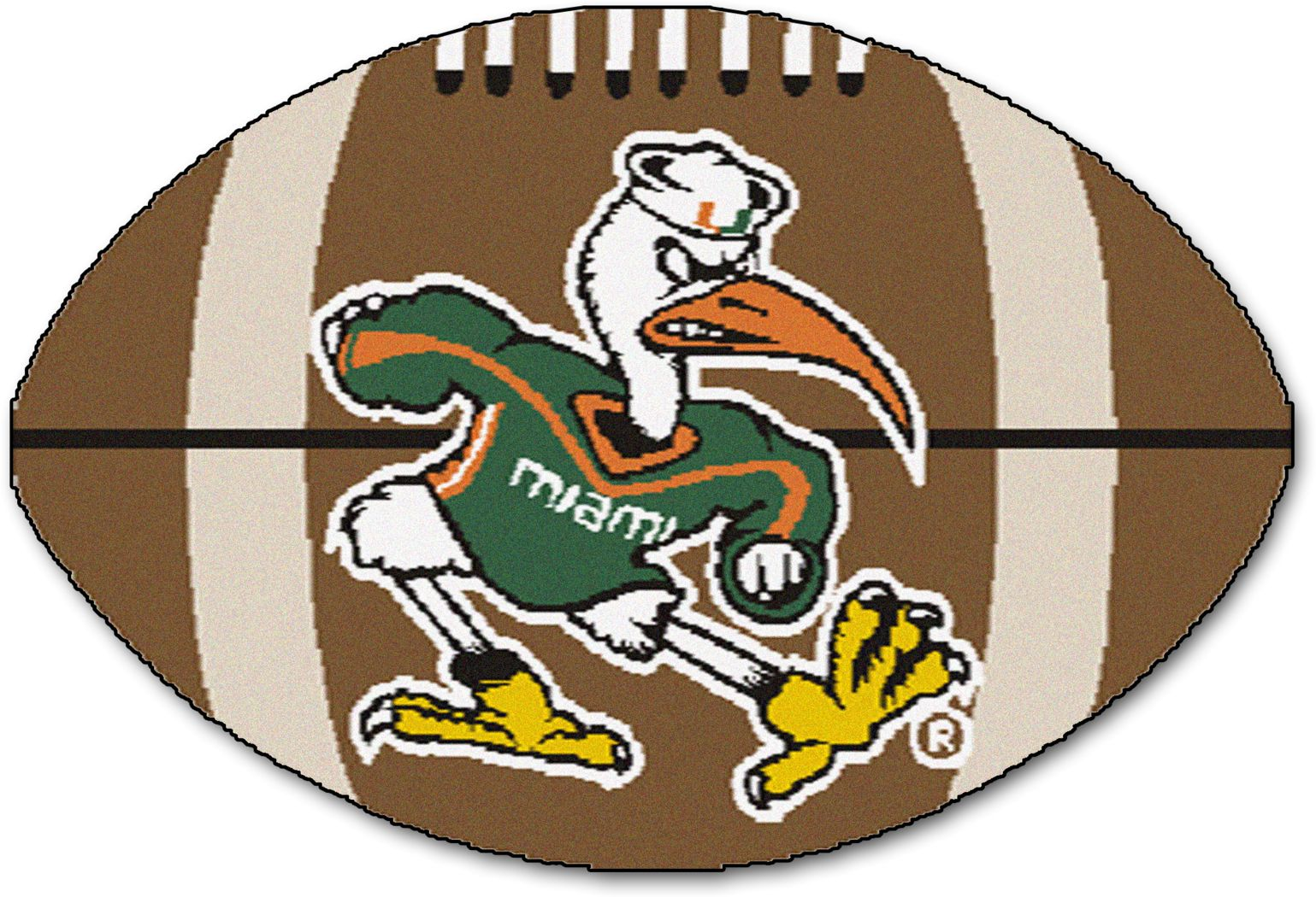 "NCAA Football Mascot University of Miami 1'6"" x 1'10"" Rug"