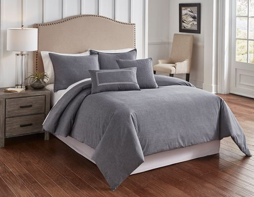 Nevan Charcoal 5 Pc Queen Comforter Set