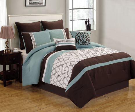 Nicolene Blue 8 Pc King Comforter Set