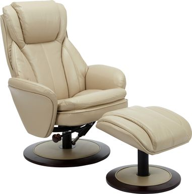 Nimblecreek Beige Recliner and Ottoman