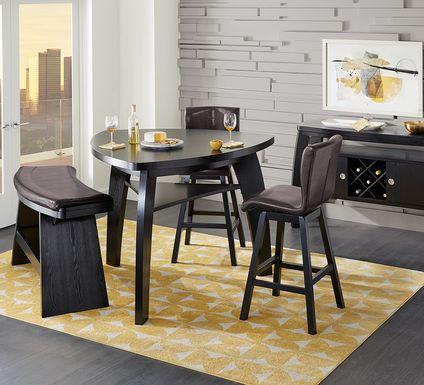 Noah Chocolate 4 Pc Bar Height Dining Room with Chocolate Barstools
