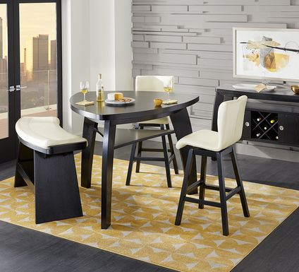 Noah Chocolate 4 Pc Bar Height Dining Room with Vanilla Barstools