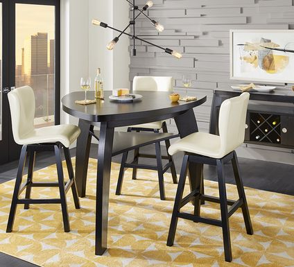 Noah Chocolate 4 Pc Bar Height Dining Room with Vanilla Barstools