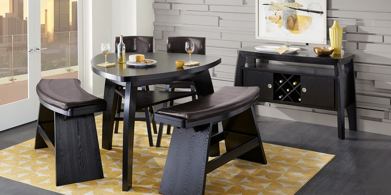 Noah Chocolate 5 Pc Bar Height Dining Room with Chocolate Barstools