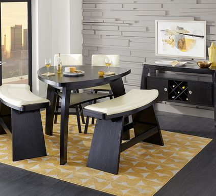 Noah Chocolate 5 Pc Bar Height Dining Room with Vanilla Barstools