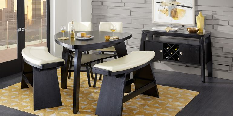 Noah Chocolate 5 Pc Bar Height Dining Room with Vanilla Barstools