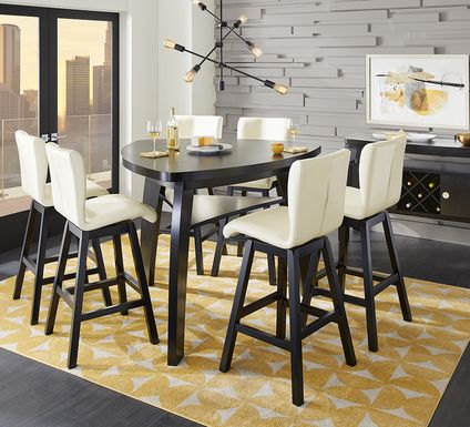 Noah Chocolate 7 Pc Bar Height Dining Room with Vanilla Barstools
