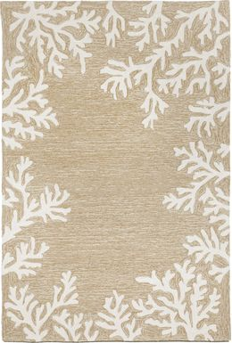 Ocean Flower Taupe 5' x 7'6 Indoor/Outdoor Rug