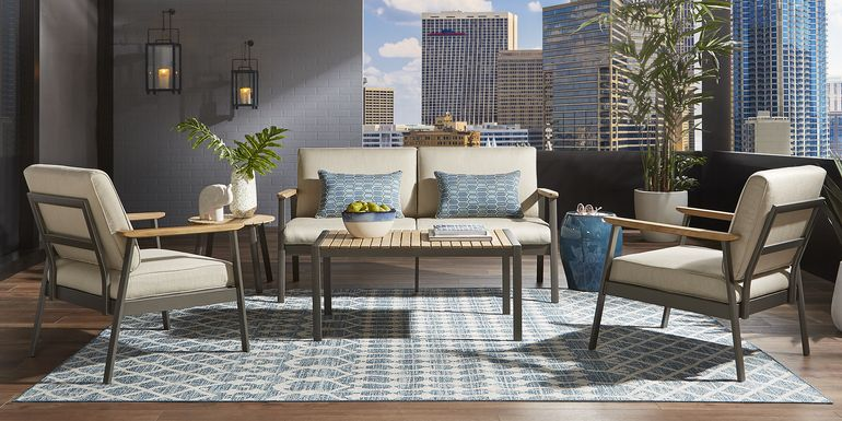 Ocean Tide Gray 4 Pc Outdoor Seating Set