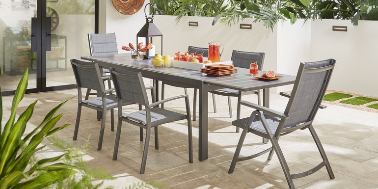 Ocean Tide Gray 9 Pc Outdoor Dining Set with Extension Table