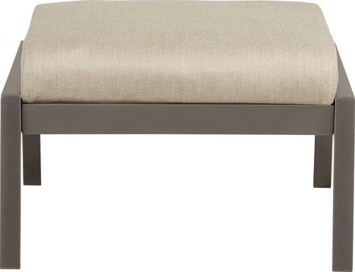 Ocean Tide Gray Ottoman with Cushion