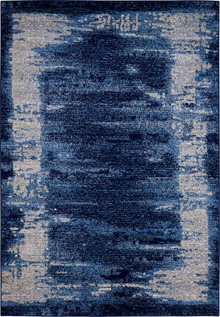 Optical Illusion Blue 5'3 x 7'4 Rug