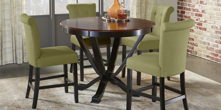 Orland Park Black 5 Pc Counter Height Dining Set with Green Stools