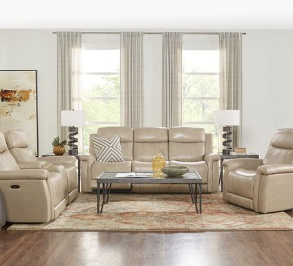Orsini Beige Leather 3 Pc Dual Power Reclining Living Room