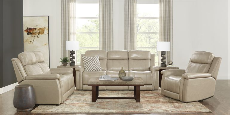 Orsini Beige Leather 5 Pc Living Room with Dual Power Reclining Sofa