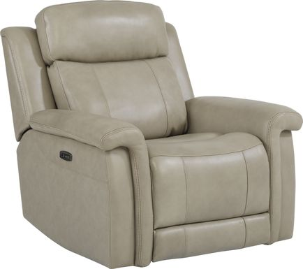 Orsini Beige Leather Dual Power Recliner