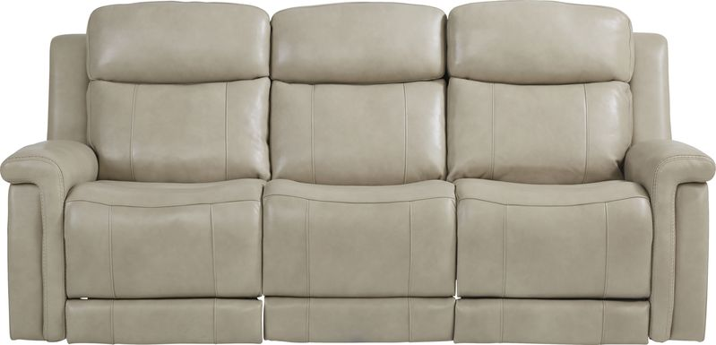 Orsini Beige Leather Dual Power Reclining Sofa