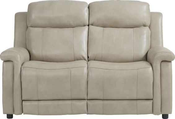 Orsini Beige Leather Loveseat