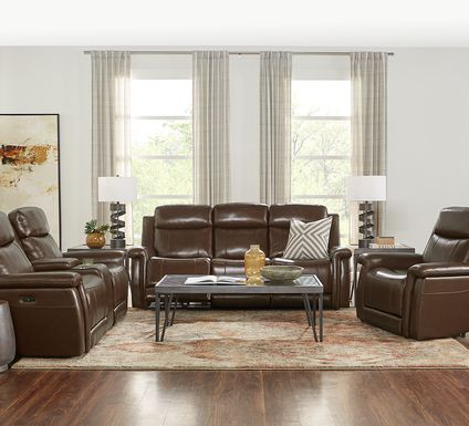 Orsini Brown Leather 3 Pc Dual Power Reclining Living Room