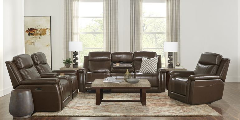 Orsini Brown Leather 5 Pc Dual Power Reclining Living Room