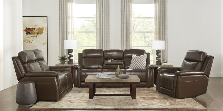 Orsini Brown Leather 5 Pc Living Room with Dual Power Reclining Sofa