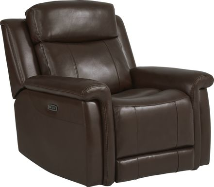 Orsini Brown Leather Dual Power Recliner