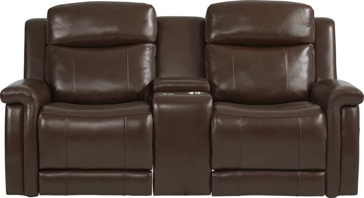 Orsini Brown Leather Dual Power Reclining Console Loveseat