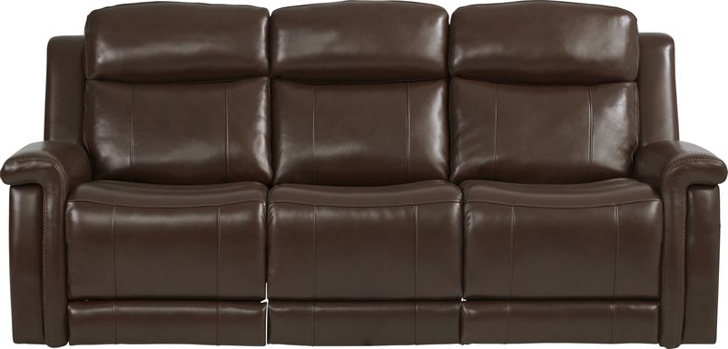 Orsini Brown Leather Dual Power Reclining Sofa