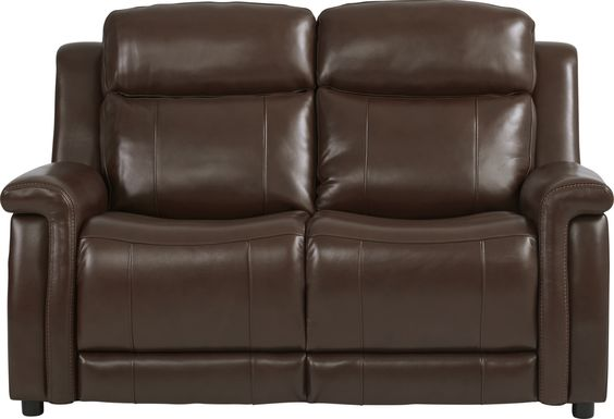Orsini Brown Leather Loveseat