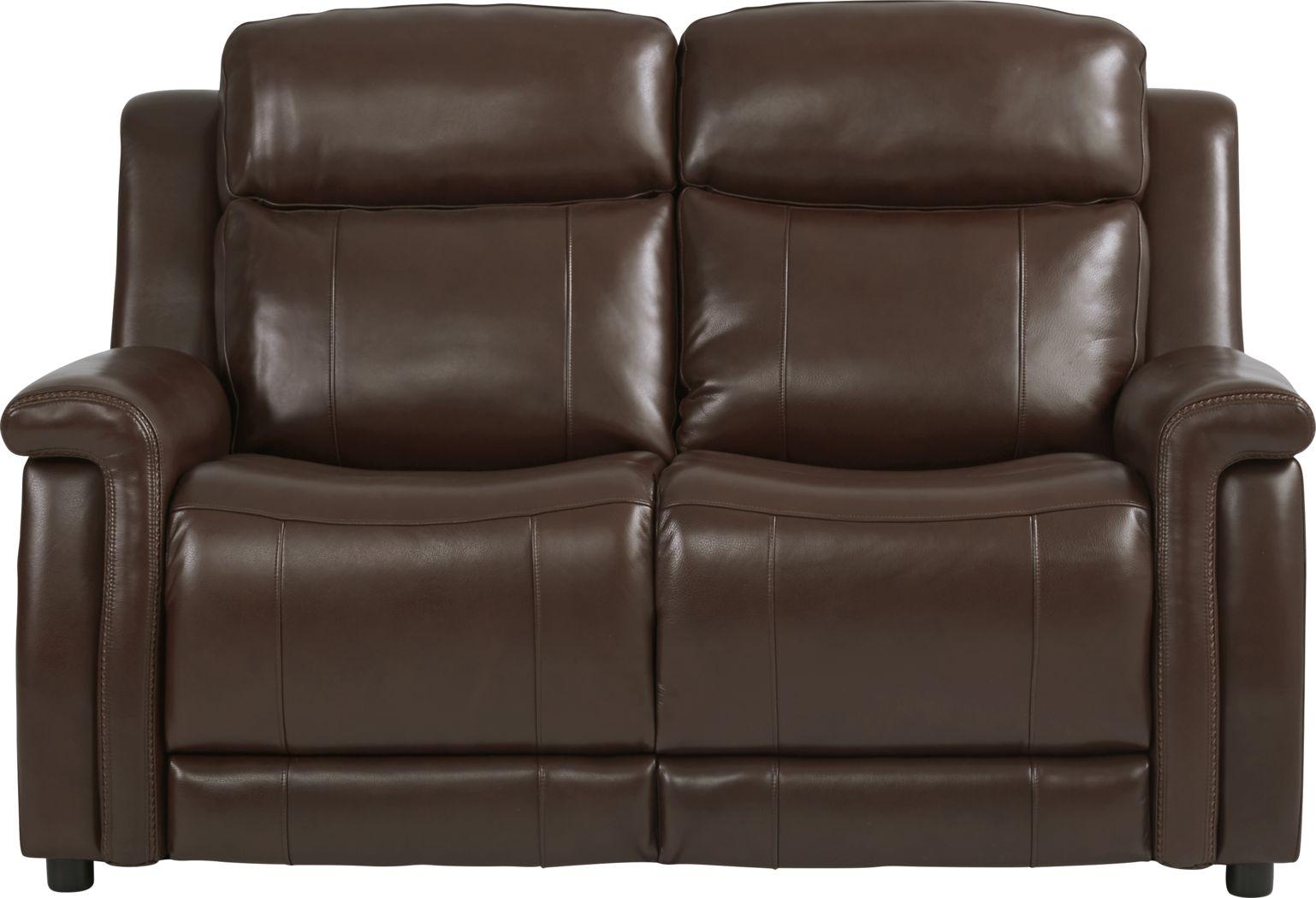 Orsini Brown Leather Loveseat