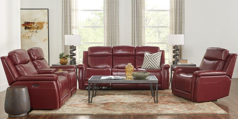 Orsini Red Leather 3 Pc Dual Power Reclining Living Room