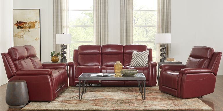 Orsini Red Leather 3 Pc Living Room with Dual Power Reclining Sofa