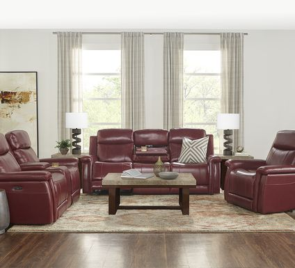 Orsini Red Leather 5 Pc Dual Power Reclining Living Room