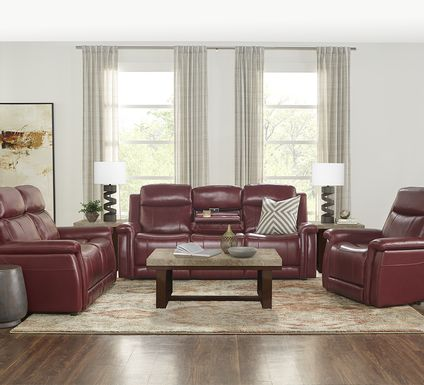 Orsini Red Leather 5 Pc Living Room with Dual Power Reclining Sofa