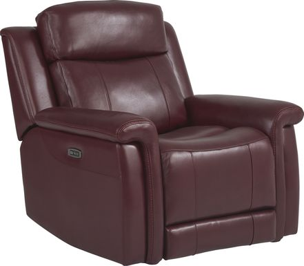 Orsini Red Leather Dual Power Recliner