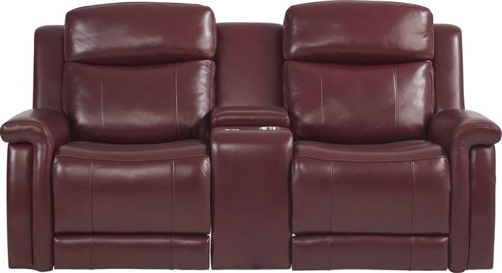 Orsini Red Leather Dual Power Reclining Console Loveseat