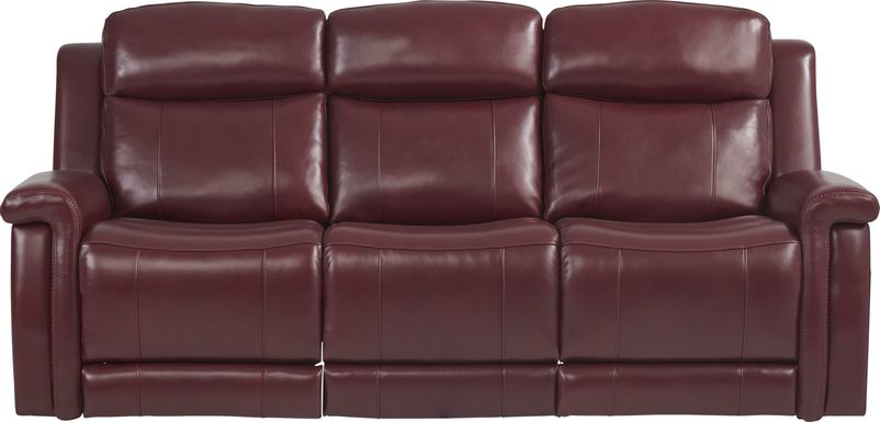 Orsini Red Leather Dual Power Reclining Sofa