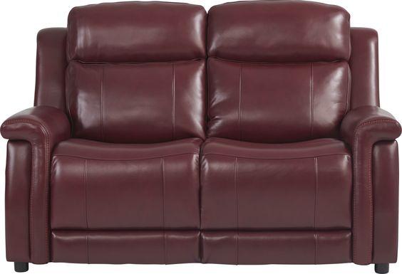 Orsini Red Leather Loveseat
