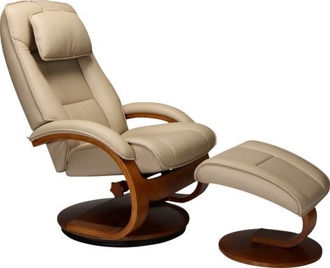 Oslo Collection Bergen Tan Recliner and Ottoman