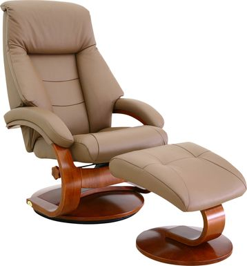 Oslo Collection Mandal Tan Recliner & Ottoman