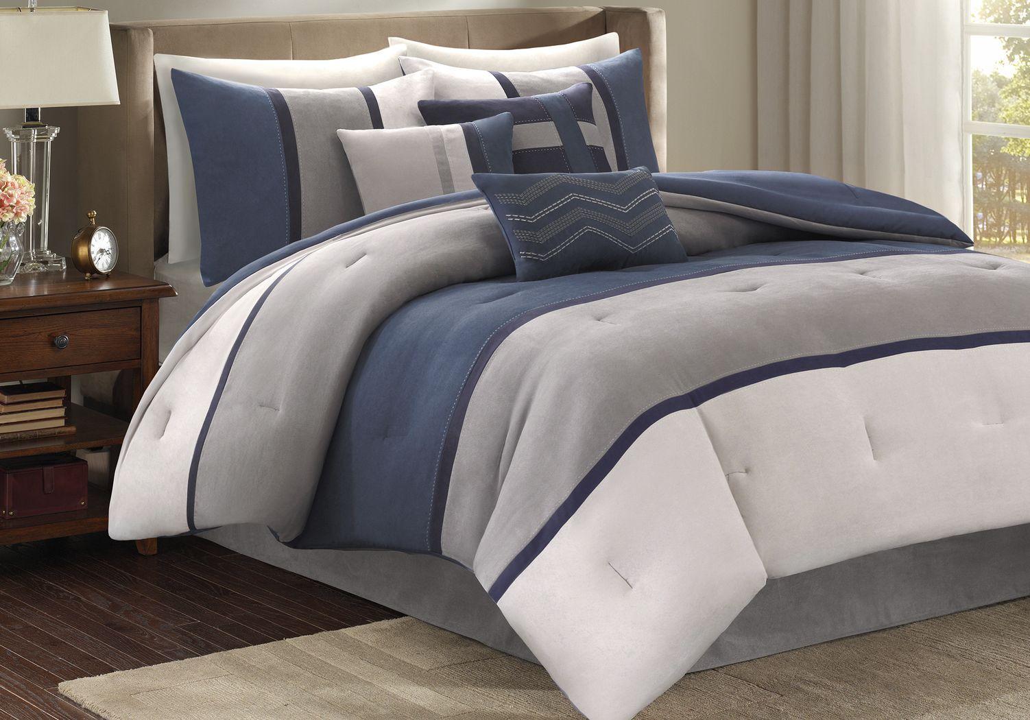 Palisades Blue 7 Pc Queen Comforter Set