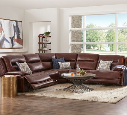 Palladino Brown Leather 5 Pc Dual Power Reclining Sectional