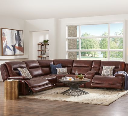 Palladino Brown Leather 6 Pc Dual Power Reclining Sectional