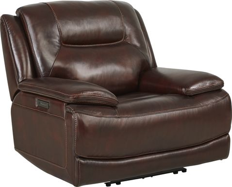 Palladino Brown Leather Dual Power Recliner
